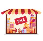Storefront with gifts for sale on white background. boutique facade. Lighting shop window with Awning , striped tent. Stacks of vector illustration