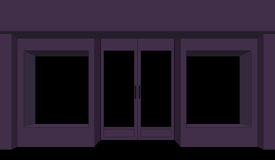 Storefront night. Dark shop building. Nightclub city. Stock Illustration