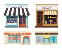 storefront Reeks van verschillende kleurrijke winkelsmarkt, suikergoedwinkel, supermarkt, opslag Vector, illustratie in vlakke st vector illustratie