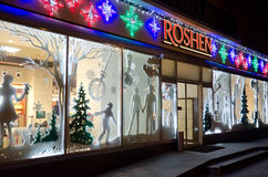 Storefront of Roshen sweets in Lviv Royalty Free Stock Images