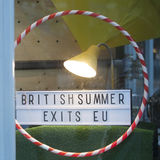 Storefront of the shop with souvenir at Spitalfields market, Sign British summer exits EU Royalty Free Stock Image