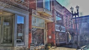 Storefront shops downtown Wooster. Shops await customers on a clear winters morning Royalty Free Stock Photography