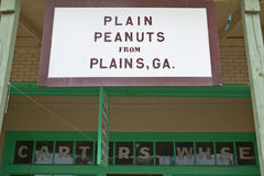 Storefront with sign that reads, �Plain Peanuts From Plains, GA.� in Plains, Georgia Royalty Free Stock Photos