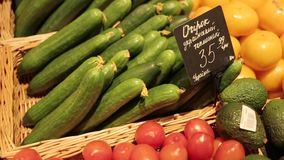 Storefront with vegetables stock footage
