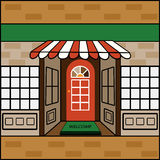 Storefront with welcome mat. Storefront  Welcome Mat  with awning and banner for your input small business Stock Photos