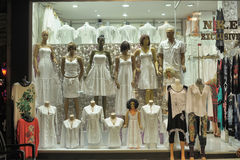 Storefront with white clothing Royalty Free Stock Photography
