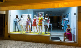 Storefront with women-mannequins Stock Photos