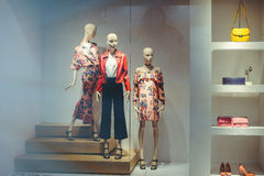 Storefront with women`s clothing Stock Images