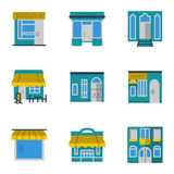 Storefronts blue icons set. Flat color style set of storefronts and showcases icons. Different facades for shops and stores, cafe and restaurant, hotel. Web Royalty Free Stock Photography