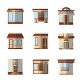 Storefronts flat color icons Royalty Free Stock Photography