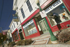 Storefronts on main street, New Hampshire, New England Royalty Free Stock Photo