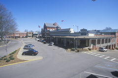 Storefronts in town center of old southern town in Historic Oxford, MS Stock Photo