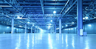 Storehouse. Empty storehouse toned in the blue color Stock Photography