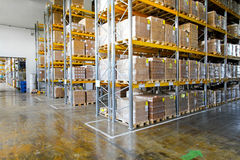 Storehouse. Boxes in modern logistic distribution storehouse interior Stock Photos