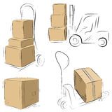 Storehouse Carts sketch with cardboard boxes Royalty Free Stock Photos