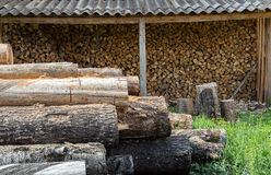 Storehouse firewood Royalty Free Stock Image