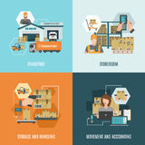Storehouse 4 flat icons square composition Stock Images
