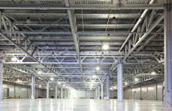 Storehouse. Interior of huge empty storehouse Royalty Free Stock Images