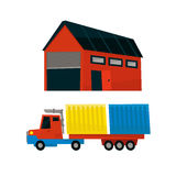 Storehouse And Long Distance Cargo Truck Royalty Free Stock Photos