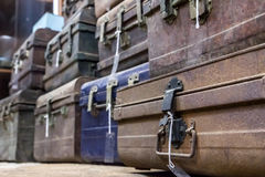 Storehouse of old suitcases Stock Images
