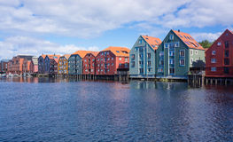 Storehouses in Trondheim Royalty Free Stock Photos