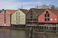 Storehouses in Trondheim Stock Photography