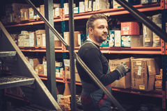 Storekeeper with handheld barcode scanner working in a warehouse. Storekeeper with mobile computer working in a warehouse Royalty Free Stock Images