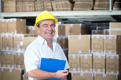 Storekeeper at work in warehouse Royalty Free Stock Photo