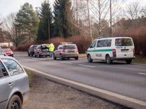 storen för krasch för bilbilsammanstötning har huvudvägen iced hastighet Royaltyfri Fotografi