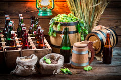 Storeroom with homemade beer in the cellar Stock Image