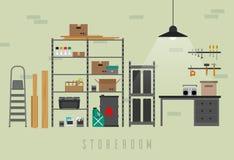 Storeroom interior with metal storage. Vector banner of garage or storeroom in flat style Stock Photos