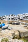 Storeroom łodzie wioska rybacka, Menorca, Hiszpania Fotografia Stock