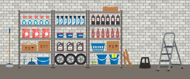 Storeroom. Shelving with household goods. Warehouse racks on a brick wall bacground royalty free illustration