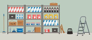 Storeroom. Shelving with household goods. Warehouse racks. There are cardboard boxes, bucket, brushes, bottles, step ladder and other things in the picture royalty free illustration