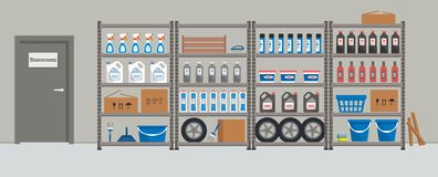 Storeroom. Shelving with household goods. Warehouse racks royalty free illustration