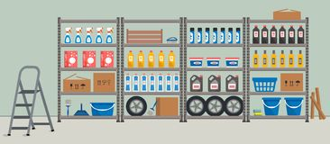 Storeroom. Shelving with household goods. Warehouse racks. There are cardboard boxes, buckets, brushes, bottles, step ladder and other things in the picture royalty free illustration