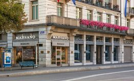 Stores on Bahnhofstrasse street in Zurich stock photography