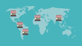Stores around the world HD animation stock footage