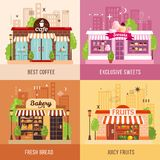 Stores Facades 2x2 Design Concept. Set of exclusive sweets fresh bread juicy fruits and best coffee square icons vector illustration Royalty Free Stock Photography