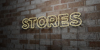 STORES - Glowing Neon Sign on stonework wall - 3D rendered royalty free stock illustration. Can be used for online banner ads and direct mailers Stock Photography