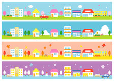 Stores and houses, four seasons. Stores and houses on a street, four seasons,  file Royalty Free Stock Photo