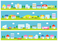 Stores and houses on a street. School, station, train, vehicles, file Vector Illustration