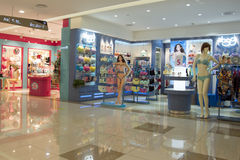 Stores inside a shopping mall in Hangzhou, China Royalty Free Stock Photos