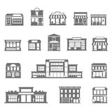 Stores and malls black white icons set Royalty Free Stock Images