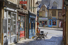 Stores on an old street of Le Mans Stock Images