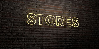 STORES -Realistic Neon Sign on Brick Wall background - 3D rendered royalty free stock image. Can be used for online banner ads and direct mailers Stock Images