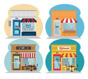 Shopping stores design. Stores seen from outside icons over white background, vector illustration Stock Image