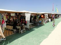 Stores selling merchandise at the beach. `El Palmar` in the province of Cádiz, Andalusia, Spain Royalty Free Stock Photos