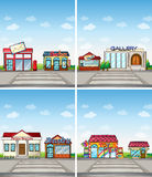 Stores. Set of 4 stores in the town Stock Photo
