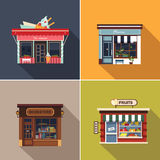 Stores and Shop Facades. Cute Vector Illustration Set Royalty Free Stock Photography
